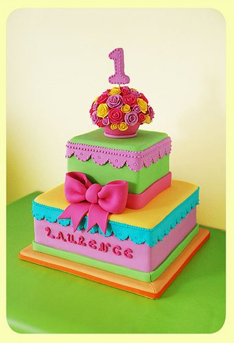 Gorgeous & colourful first birthday cake
