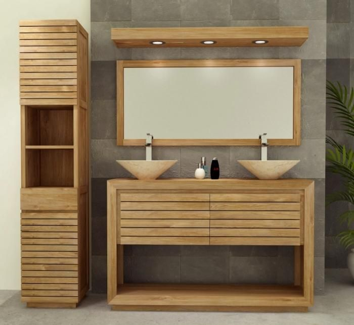 meuble de salle de bain emine l140 en teck id e salle de bain pinterest meubles de salle. Black Bedroom Furniture Sets. Home Design Ideas