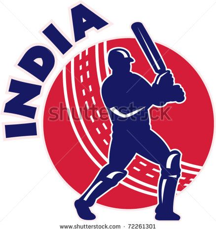 """vector illustration of a cricket batsman silhouette batting front view with ball in background done in retro style with words """"India"""" - stock vector #cricket #retro #illustration"""