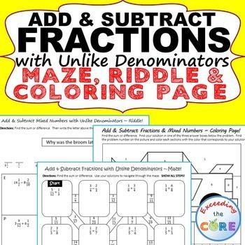 Get your students successfully ADDING AND SUBTRACTING FRACTIONS & MIXED NUMBERS (unlike denominators) with these fun activities including a maze, riddle and coloring activity.  Topics Include: ✔ Add and subtract fractions with unlike denominators. ✔ Add and subtract mixed numbers with unlike denominators. ✔ Rename to find the difference of two mixed numbers. Perfect for math assessments prep, math stations or homework. 5th grade math 5.NF.1
