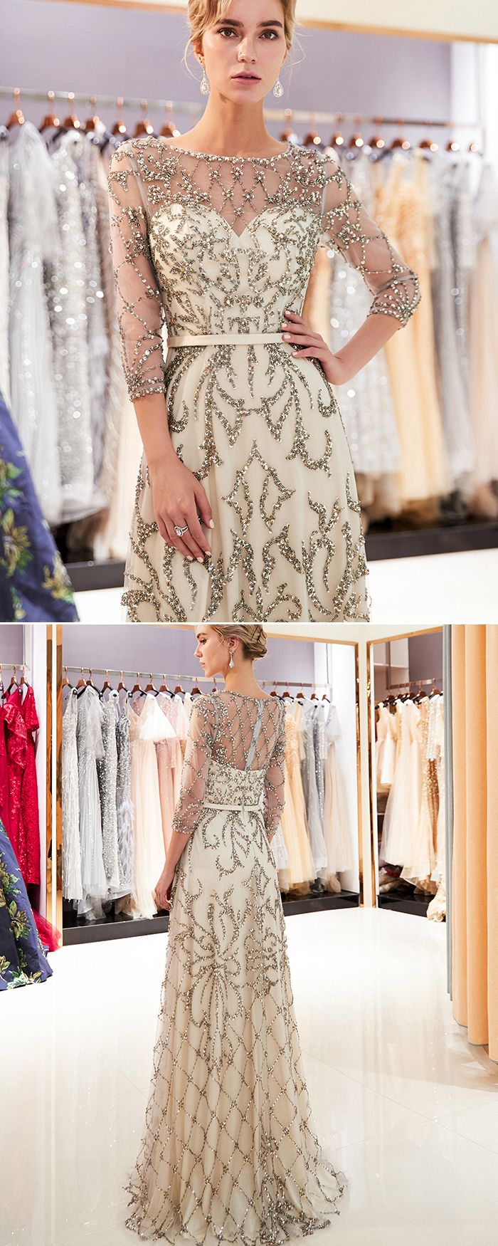 Jewel Neck Champagne Floral Beading Evening Dress With 3 4 Length Sleeves Qd025 Bridesmaid Dresses Long Champagne Evening Dresses Champagne Dresses Long [ 1750 x 700 Pixel ]