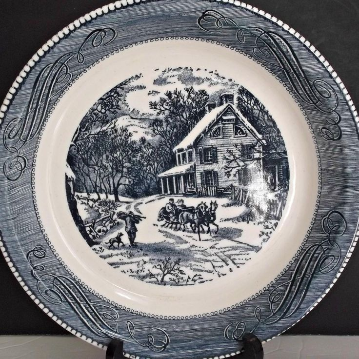 Royal China Jeannette Deep Dish Pie Plate Currier and Ives Winter Sleigh Ride  at Saltymaggies Treasures on Ruby Lane
