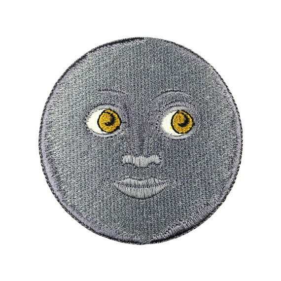 Emoji Moon Face Patch Embroidered Retro Black by FlagPatchKingdom