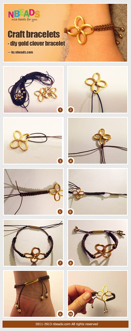 Summary: Today's jewelry craft ideas present craft bracelets to you. You'll learn to make a clover bracelet which is used a clover link to combine the braided cords. I think a rhinestone clover may have more sparkle effects. How do you think?