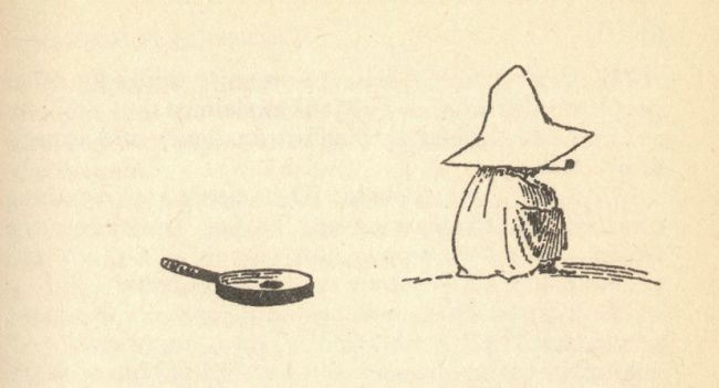 """Snufkin from """"Moominvalley in November"""" by Tove Jansson, 1970"""