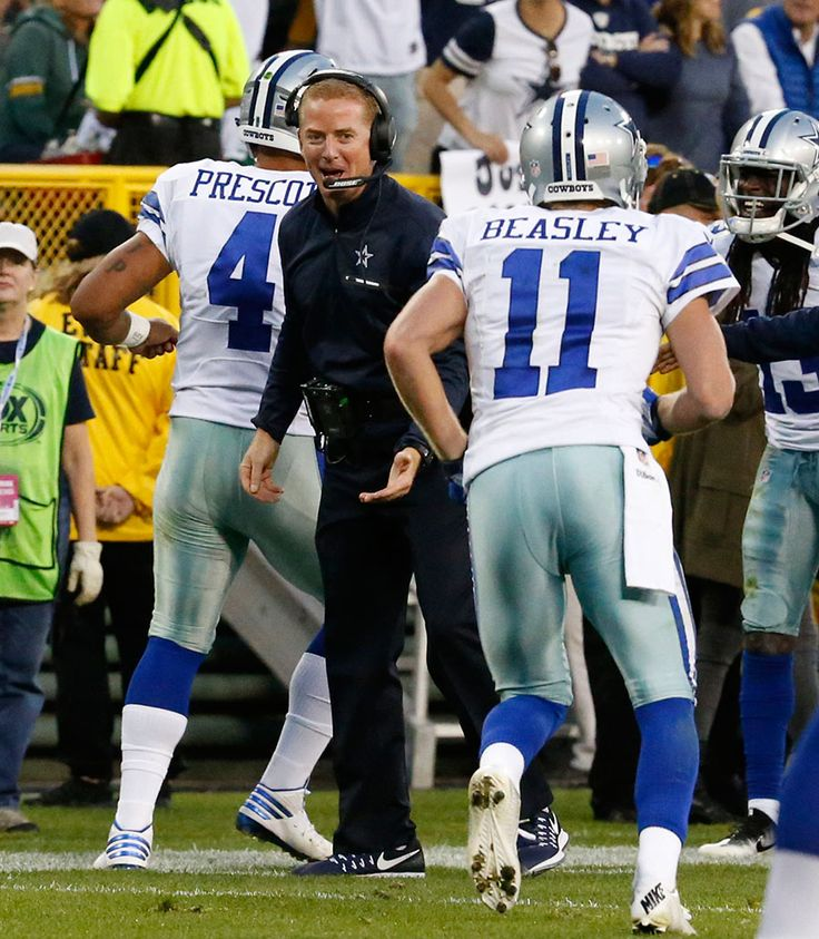 Cowboys vs. Packers:     October 16, 2016   -  30-16, Cowboys  -      Dallas Cowboys head coach Jason Garrett celebrates a touchdown with quarterback Dak Prescott and wide receiver Cole Beasley.