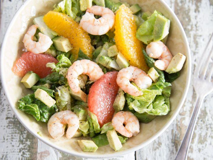 Avocado-Orangen-Salat mit würzigen Shrimps