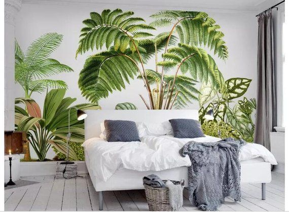 Hand Painted Tropical Plants Wallpaper Wall Mural Green Etsy