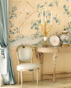 """I love the simplicity of this. A little French, and a little English country house. There are just enough filigrees and """"doo-das"""" to make it girly, but not so much that it's tacky."""