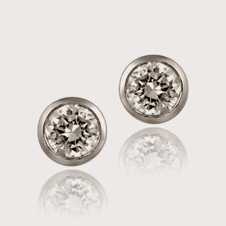 Sterling Silver CZ Bezel Set Martini Stud Earrings, 6mm