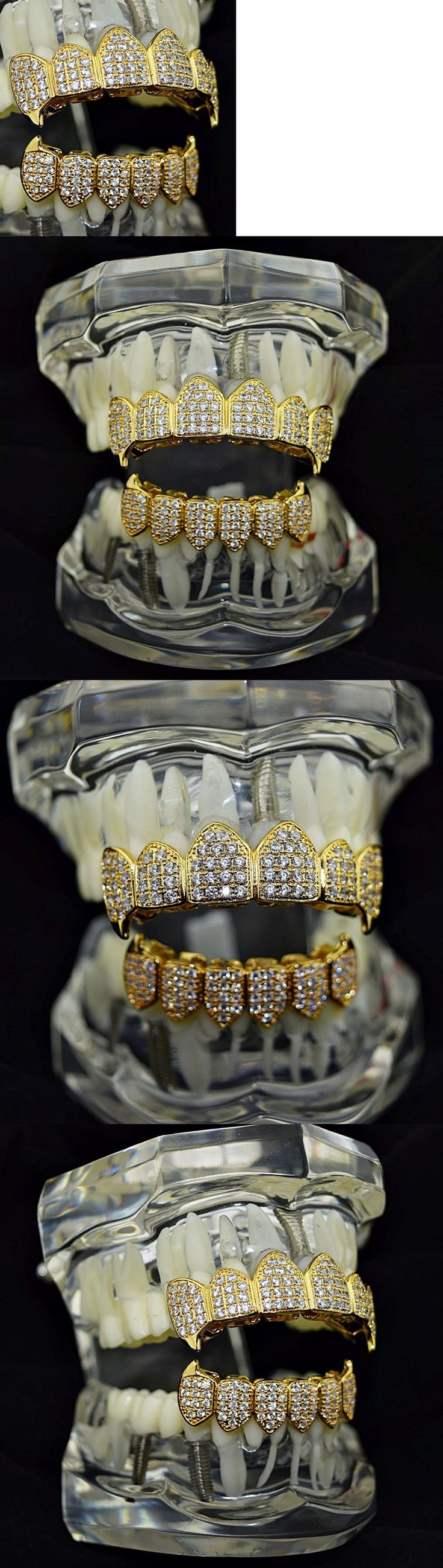 Grillz Dental Grills 152808: 18K Gold Plated Fang Grillz Set Cz Fangs High Quality Micro Pave Vampire Teeth BUY IT NOW ONLY: $59.95