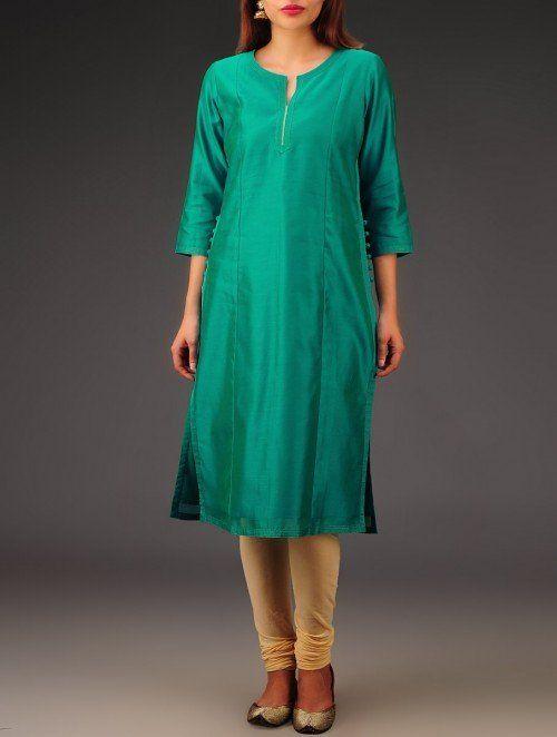 Green Chanderi Zari & Button Detailed Kurta