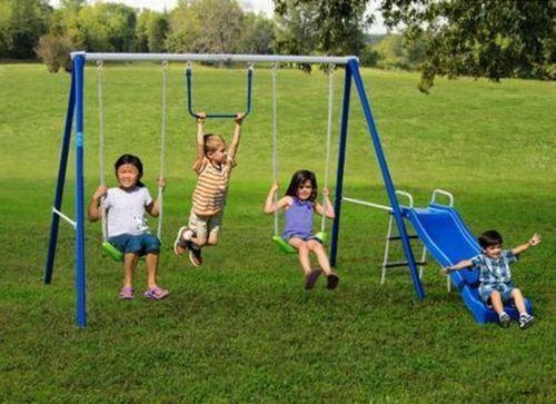 Flexible Flyer Metal Kids Swing Set Outdoor Playground Toy Slide Swinging Fun  #FlexibleFlyer