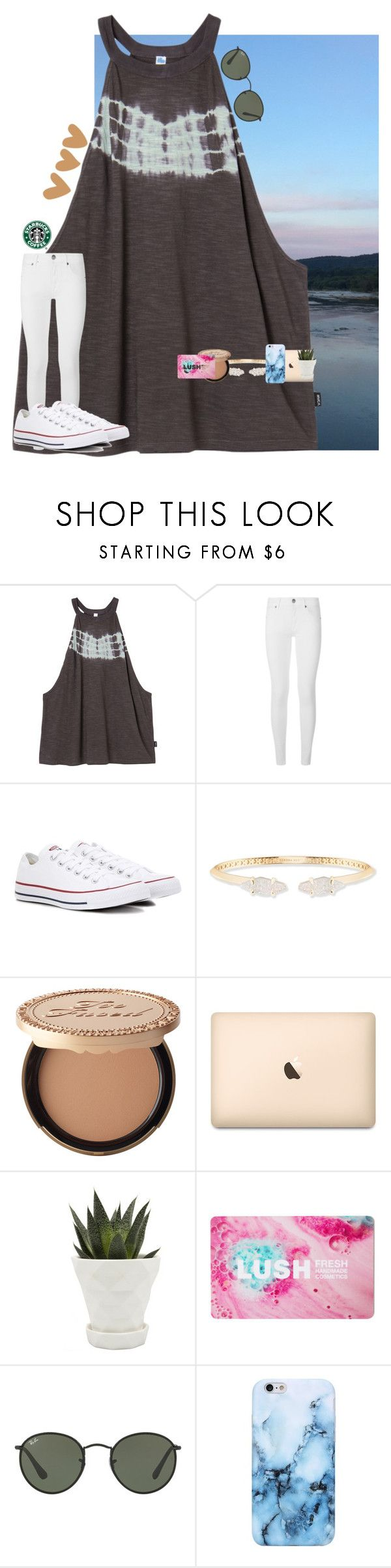 """•today is the day!!•"" by mackenzielacy814 on Polyvore featuring RVCA, Burberry, Converse, Kendra Scott, Too Faced Cosmetics, Chive, Ray-Ban and mrlloves"