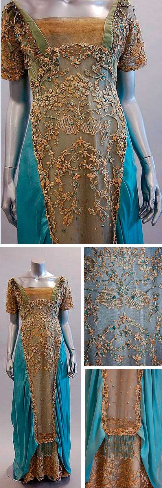 A reconstructed/restored Callot Soeurs evening gown, ca. 1908, labelled to the waist, of blue satin with elaborately beaded and embroidered tulle overlays. Kerry Taylor Auctions