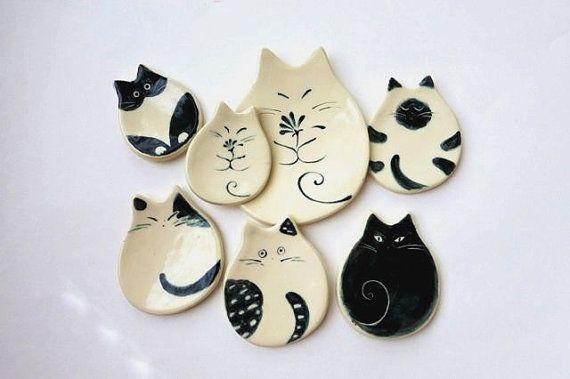 Piatto piatto di ceramica Trinket gatto ceramica di ChikoCraft