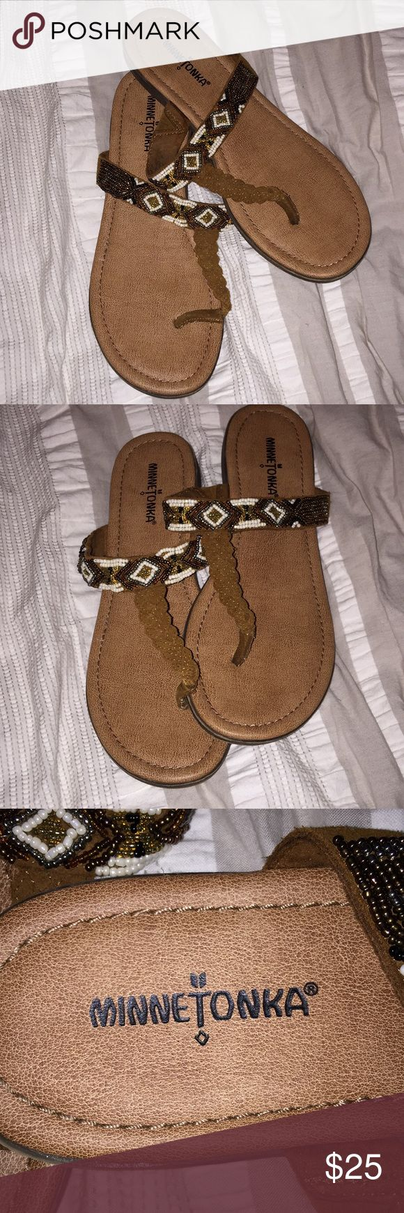 Minnetonka sandals These are Minnetonka sandals, braided leather and beading. Women's size 10 Minnetonka Shoes Sandals