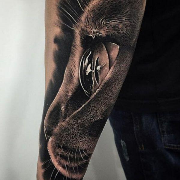 Black 3D cat head Tattoo  - http://tattootodesign.com/black-3d-cat-head-tattoo/  |  #Tattoo, #Tattooed, #Tattoos