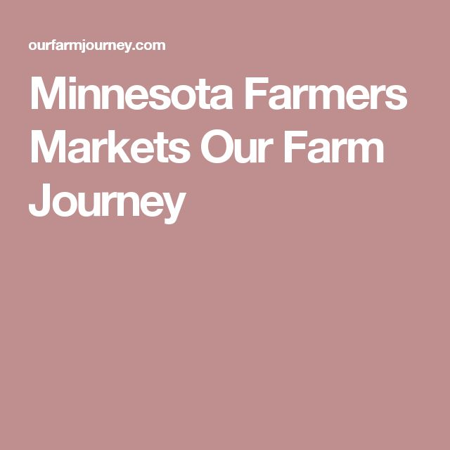 Minnesota Farmers Markets Our Farm Journey