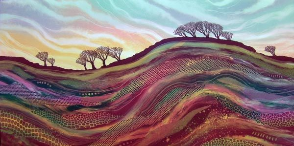 On the Wall Monotype by Rebecca Vincent.  35 x 70cm Available from The Biscuit Factory £550.00 framed