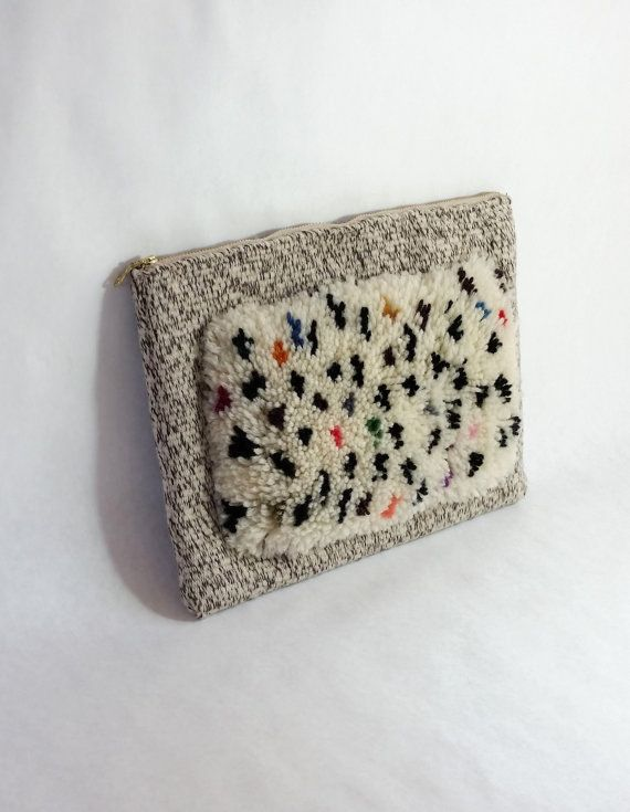 fuzzy rug weaving tablet case hand woven clutch pouch wool shag