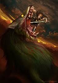 """Vidar; """"härskare/krigare"""" från """"Skogslandet Vide"""". Kraftfull, dominerande, en hämnare. Den starkaste guden efter Tor. Kännetecken; en tjock sko (gjord av läderbitar till övers från skomakare) som var oövervinnlig. Vid Ragnarök hämnas Vidar Oden genom att sätta skon i Fenrisulvens käftar, bryter upp dem tills besten dör. Vidar och Vale överlever tar Odens göromål efter att eldjätten Surt satte världen i brand vid Ragnaröks slut. Son till f: Oden Son till m: jättinnan Grid? Halvbroder m: Vale"""