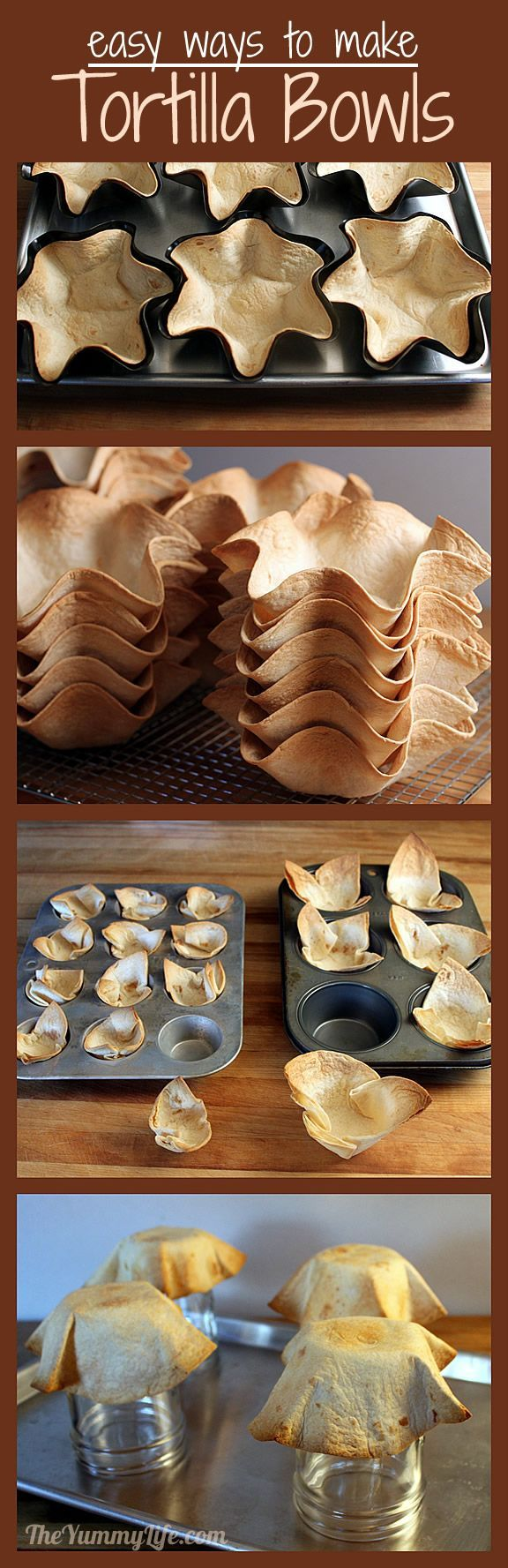 Tortilla Bowls - So tasty and a great alternative to overly salty tortilla chips