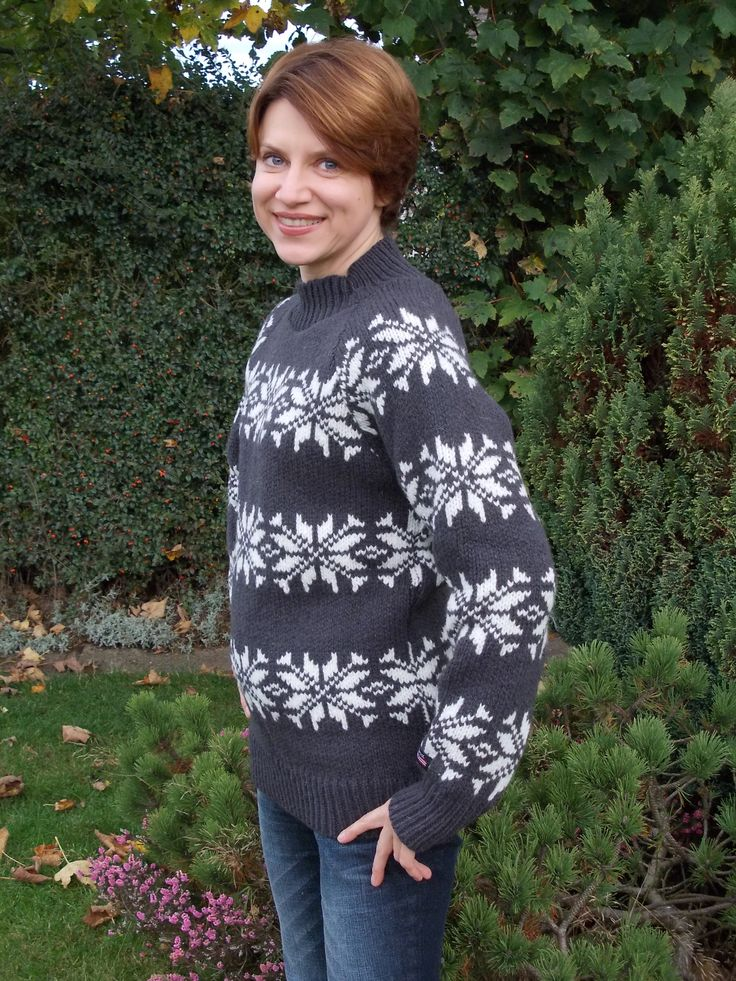 Sweater with snowflakes by Norwool, Norway