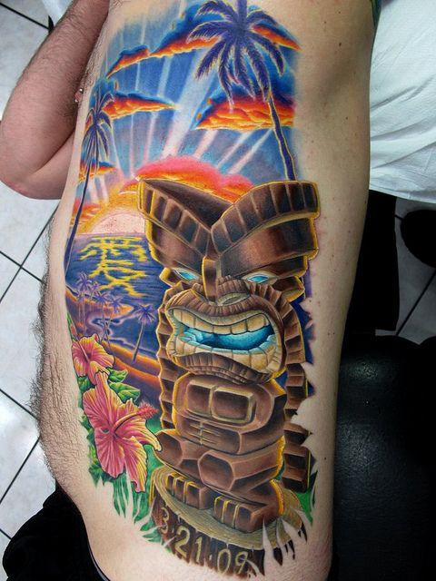 Hawaiian Tiki Tattoos | Roy Hawaii Tiki Sunset