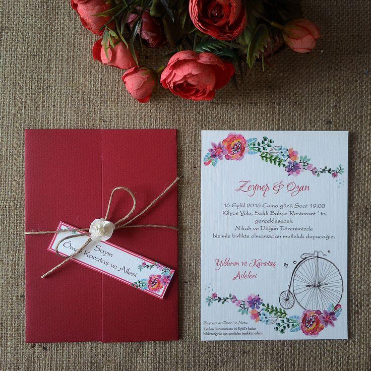 Masal Davetiye 1012 Kır Gezisi Tasarım düğün davetiyesi, ip bağlamalı, çiçek aksesuarlı ve isimlik kart ile birlikte