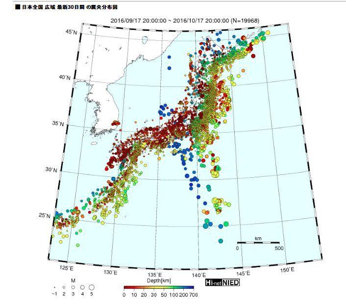 """T.HIRANO on Twitter: """"この1か月間に起こってる地震の分布図 日本地図の地形が見えないほど、地震が起こってる地震大国の日本  原発再稼働に反対していた人が、新潟県知事に当選した。福島原発の廃炉のメドがたっていない状態で、日本は地震が更に活発になってる今、再稼働を反対する人が知事に選ばれたのは当然のこと https://t.co/3PlnIooLcA"""""""