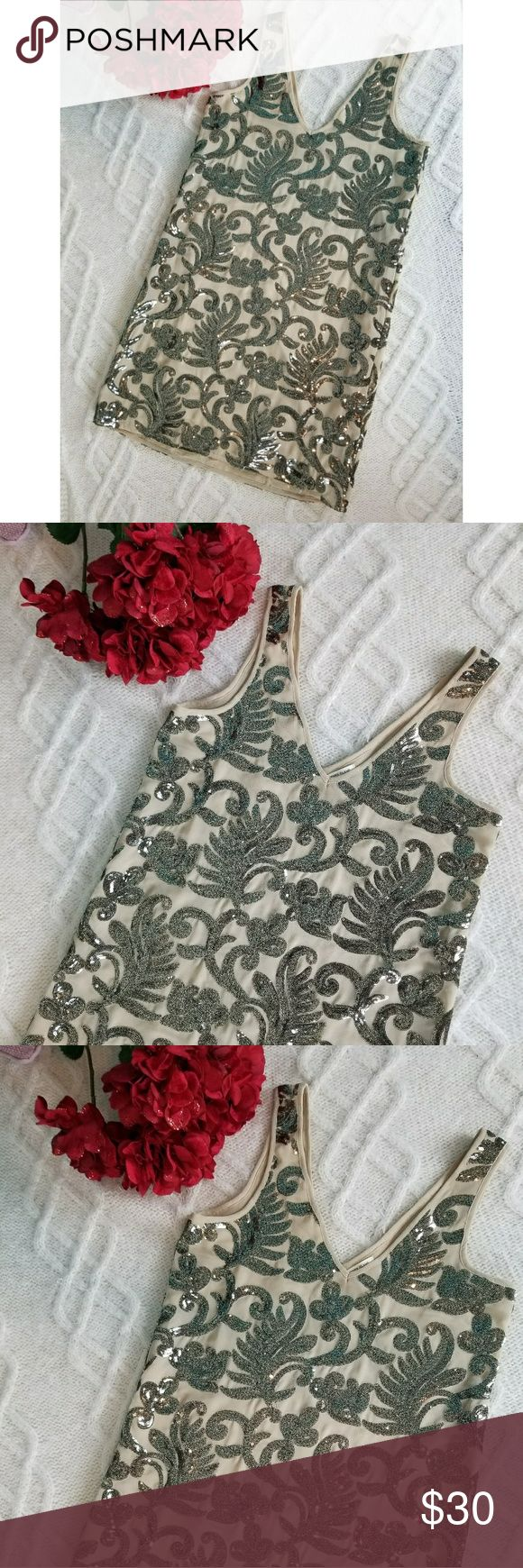 River island Sequin leaves sleeveless dress beaded Grey cream beaded dress  Tank top sleeves Fun for parties and new years UK 8 is us 4 River Island Dresses