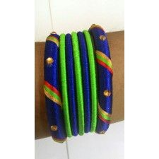 Green & Blue Hand Wrapped with silk thread bangles