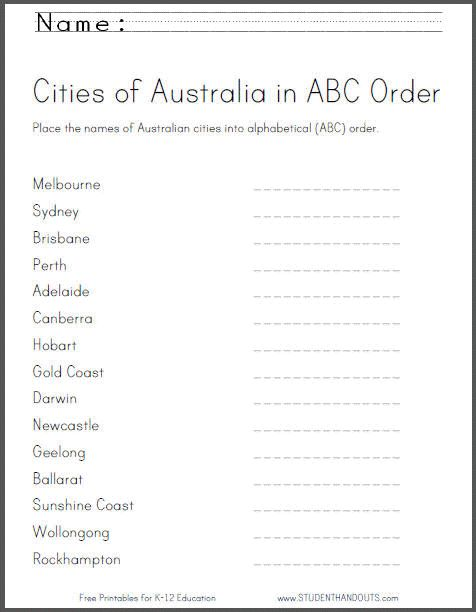 Put Australia's cities into ABC order - free printable worksheet for ...