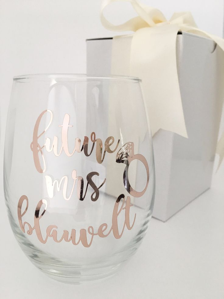 Future Mrs Wine Glass - Rose Gold Wine Glass - Engagement Announcement - Bride Wine Glass - Gift for Bride - Engagement Gift by OneDaintyTulip on Etsy https://www.etsy.com/listing/499012358/future-mrs-wine-glass-rose-gold-wine