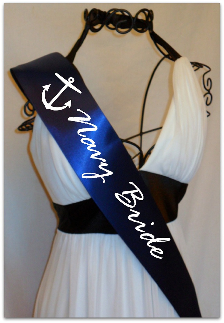 I would love to have this only without the anchor on it and have a tiara on it that says the bride in pink writing on a white sash