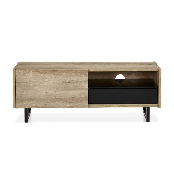 meuble tv structure imitation chne 1 porte coulissante et 1 tiroir tempo meubles tl - Mini Meuble Tv Alinea