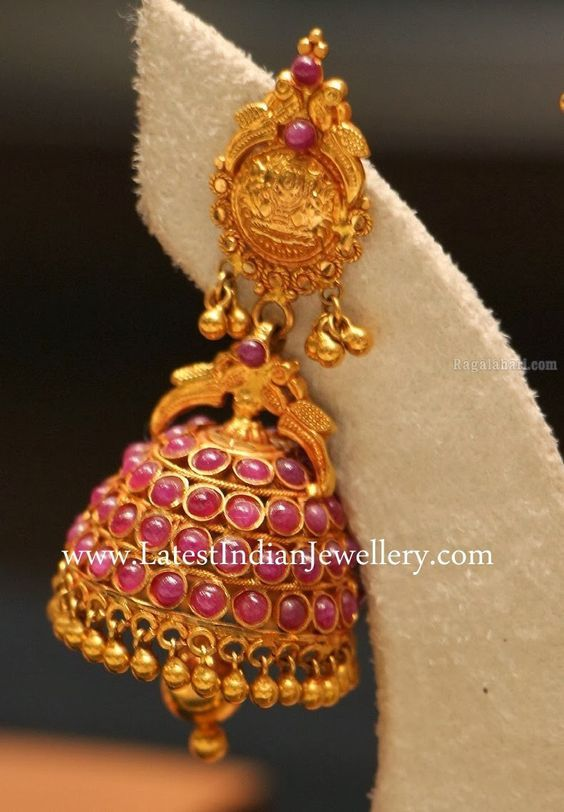 Beautiful Ruby Jhumki Earrings: Indian Jewellery, Gold Jewellery, Indian Jewelry, Jhumki Earrings