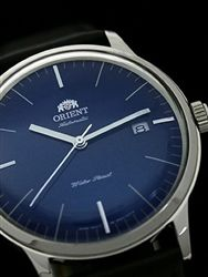 •$129 • 40.5mm •Orient Bambino version 3 Automatic Dress Watch with Blue Dial, Applied Silver Hour Markers #ER2400LD