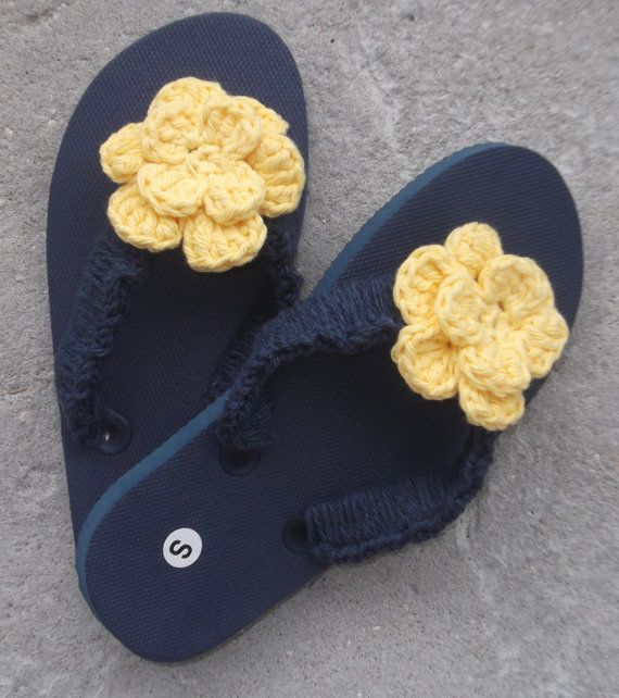 Girls Size Small 11/12 Navy Blue Flip Flops with by Hookedonyarnct, $12.00