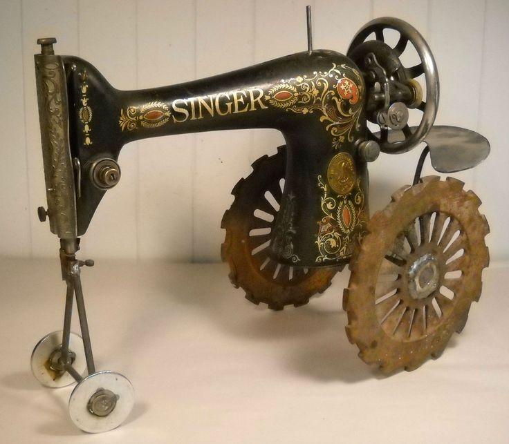 Singer Sewing Machine Tractor Repurposed Junk Art Sculpture | eBay