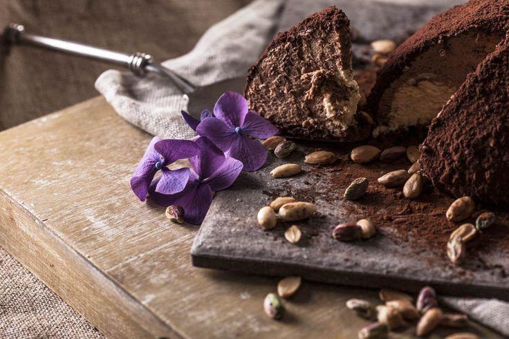 Ταρτούφο (Tartufo), ice cream cake with chocolate parfait, tiramisu parfait and cacao with crucnchy caramel bits. Afoi Asimakopouloi, Athens http://asimakopouloi.com/