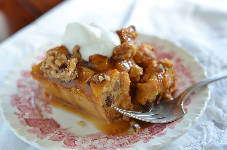 Pumpkin Bread Pudding With Caramel Sauce and Brandied Whipped Cream ...