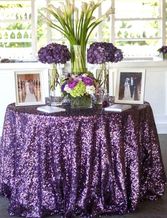 1 DAY SHIP 120 Round Plum Sequin 60 inch Table by SparkleSoiree