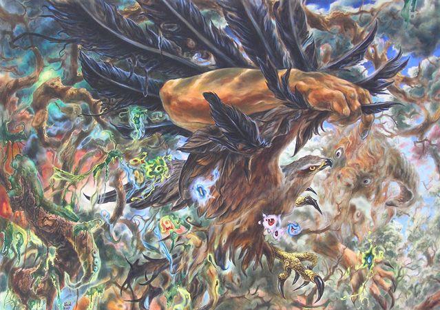 Adelaar 3 Mythologische figuren met adelaar op voorgrond. Paul de Werd