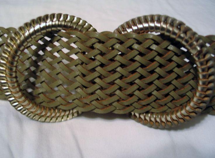 """J. Crew Open Weave Metallic Belt Small - Medium 1 3/4"""" Wide SO CUTE Double Ring  #JCrew"""