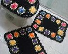 Jogo de banheiro Flores preto
