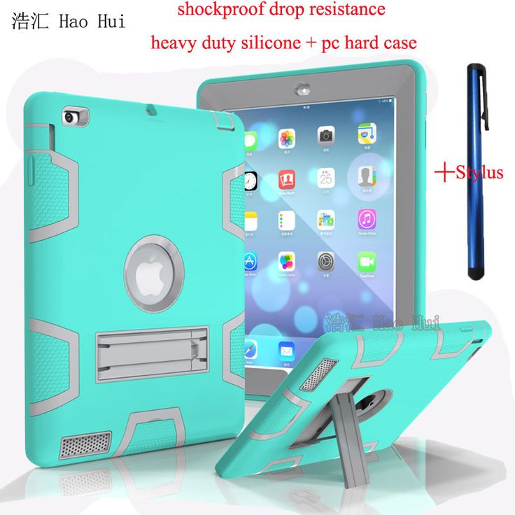 Case For Apple iPad2 3 4 Kids Safe Armor Shockproof Heavy Duty Silicon PC Stand Back Case +Plastic hard case + Free Stylus