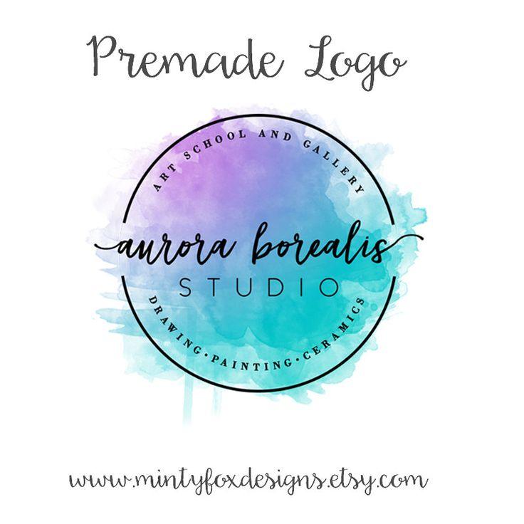 Premade Watercolor Logo, Watercolor Badge Logo, Business Logo, Art Logo, Designer Logo, Circle Logo, Blogger Logo, Artist Logo, Boho Logo by MintyFoxDesigns on Etsy #etsy #premadelogo #watercolor #badge #gradient #purple #pink #turquoise #blue #art #artist #blogger #studio #logodesign #logo #handwritten #script