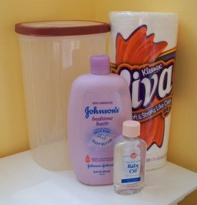 Homemade Baby Wipes      2 cups water that has been boiled & cooled to room temperature      2 Tbsp. baby shampoo or baby wash      1 Tbsp. baby oil